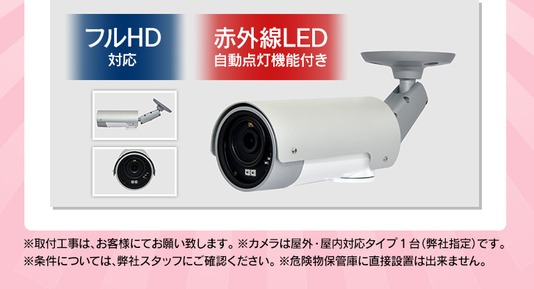 フルHD対応 赤外線LED自動点灯機能付き